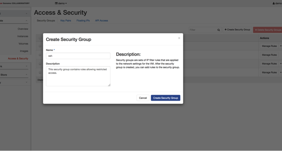 A screenshot of the create security group window.