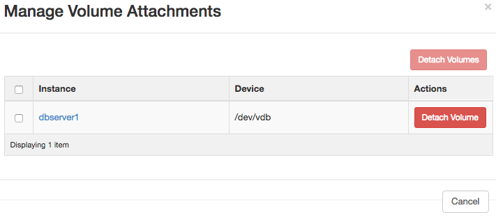 A screenshot of the Manage Volume Attachments form.