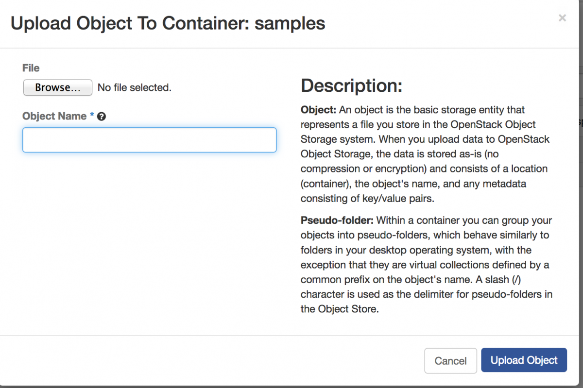 A screenshot of the Upload Object to container dialog box.
