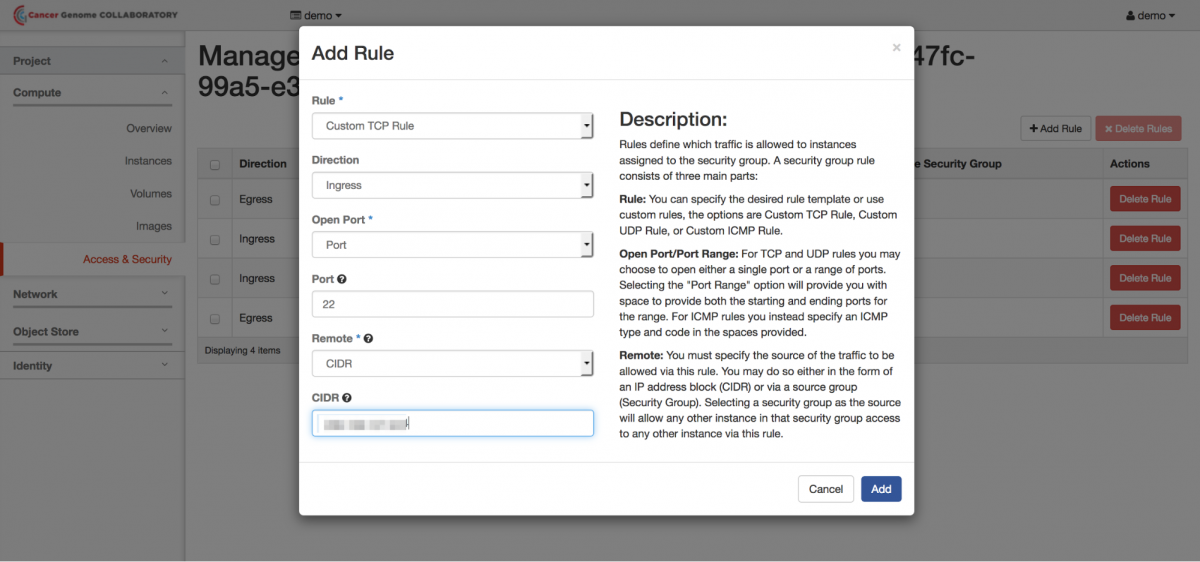 A screenshot of the Add Rule dialog box
